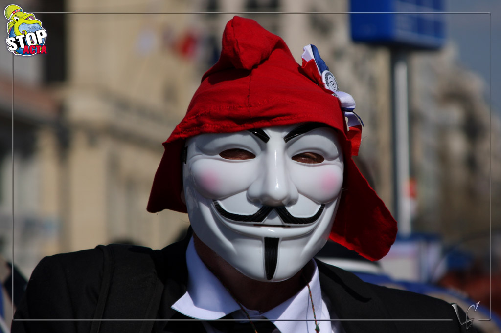 Marseille 24 mars 2012: Manifestation STOP ACTA – Anonymous