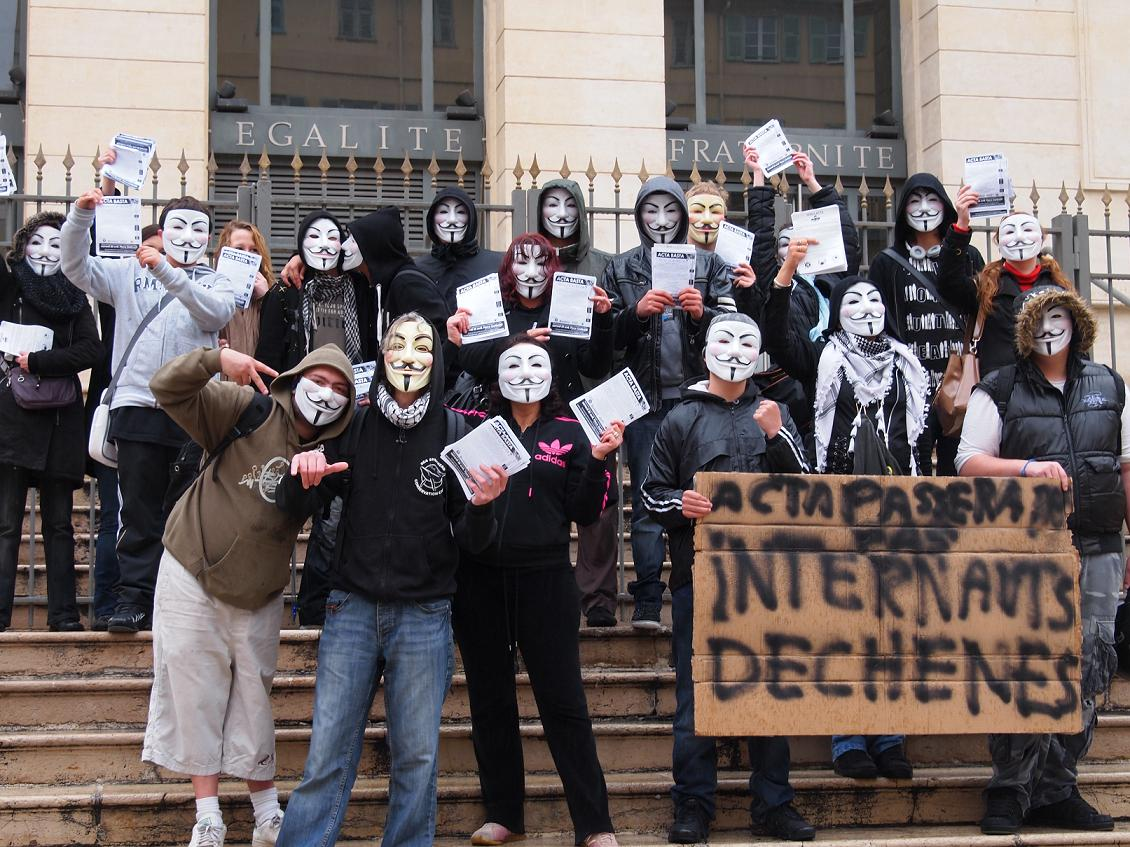 Nice :  Manifestation  contre #ACTA à Nice 14 avril 2012 #Anonymous