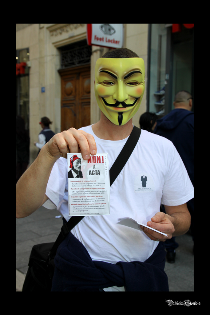 Marseille 14 avril 2012: Manifestation STOP ACTA – Anonymous