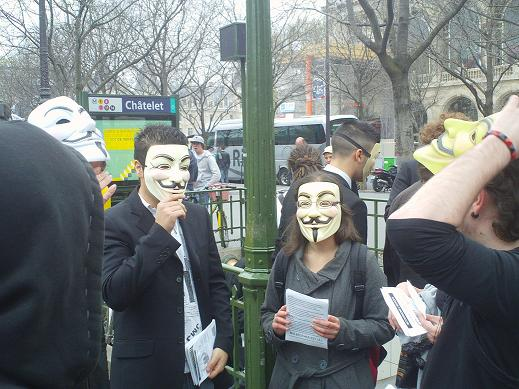 PARIS 31 mars 2012 : Manifestation Stop ACTA / Anonymous