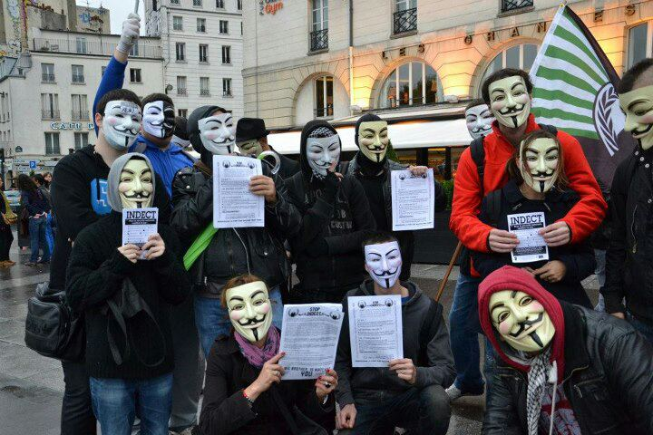 Paris contre #INDECT : Manifestation #Anonymous du 20 octobre 2012