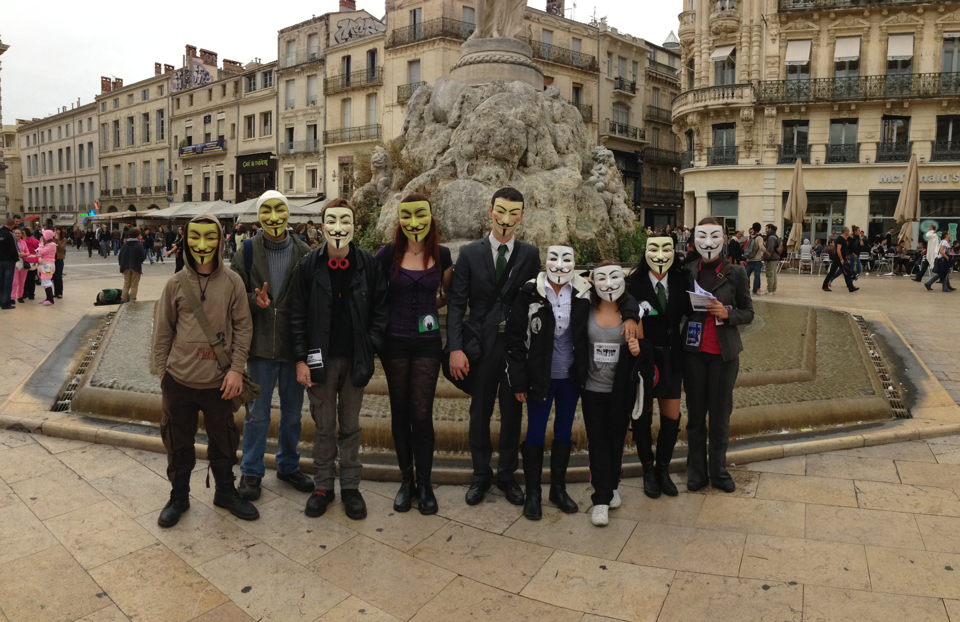 Montpellier contre #INDECT : Manifestation #Anonymous du 20 octobre 2012