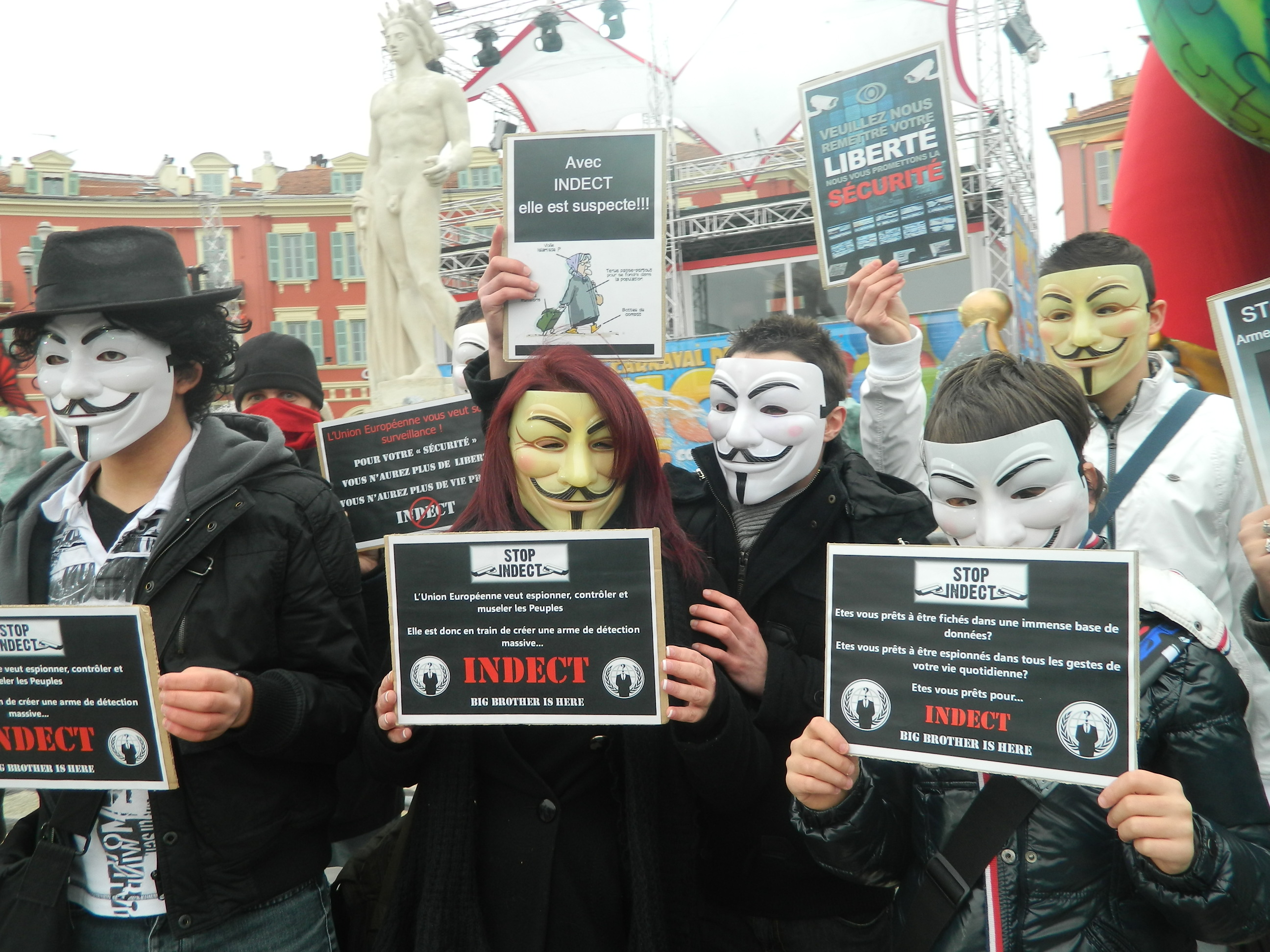 23 fev 2013, Nice répond présent à l'appel #Anonymous contre Big Brother / INDECT